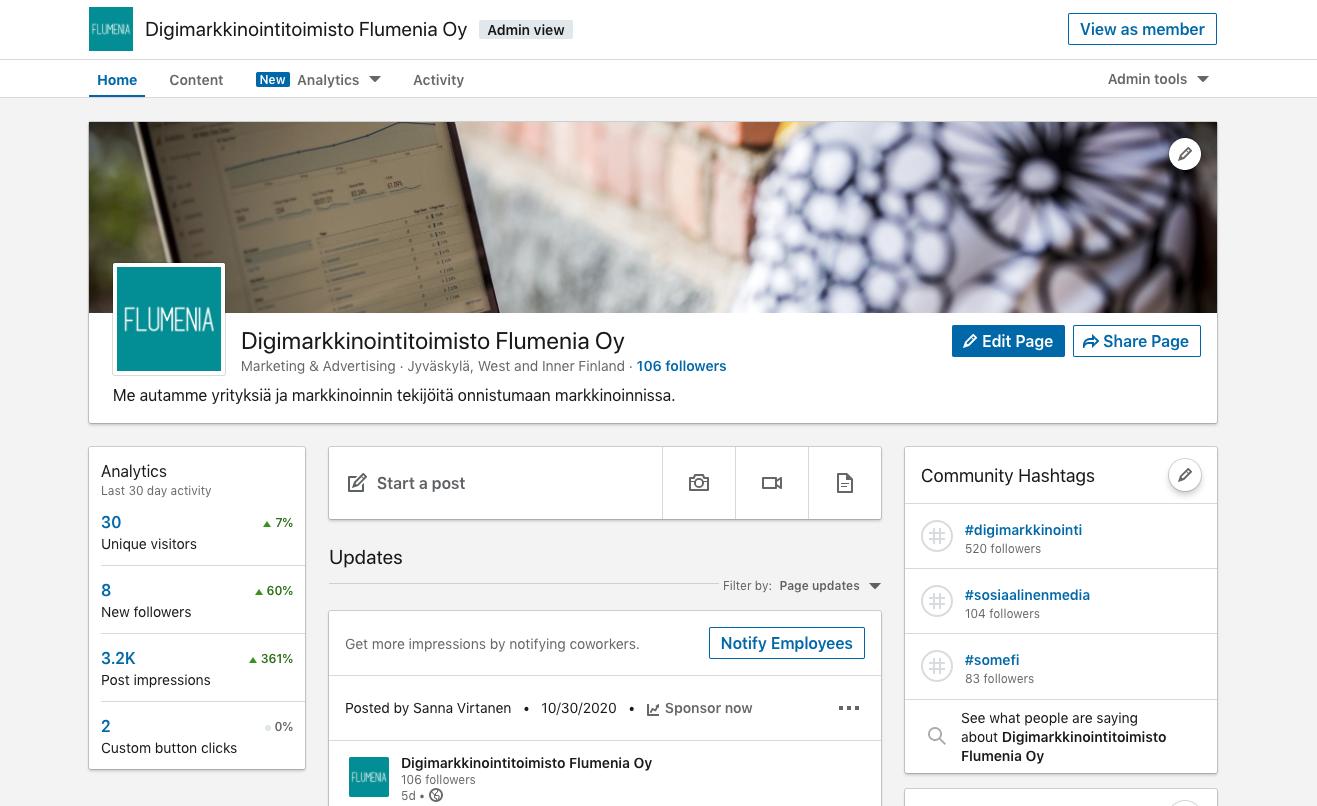 LinkedIn yrityssivun perustaminen